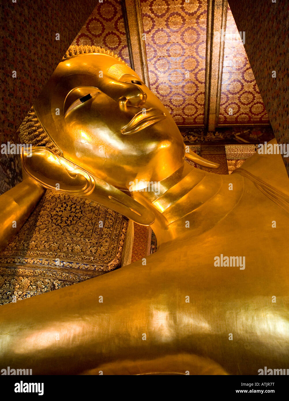 Reclining Golden Buddha Wat Po Bangkok Thailand South East Asia - Stock Image