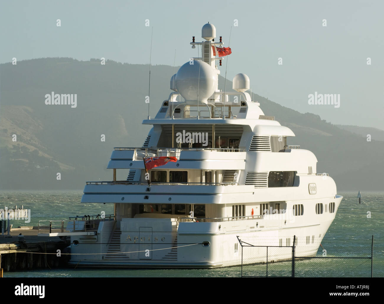The luxury yacht Apoise  owned by Canadian David Ritchie - Stock Image