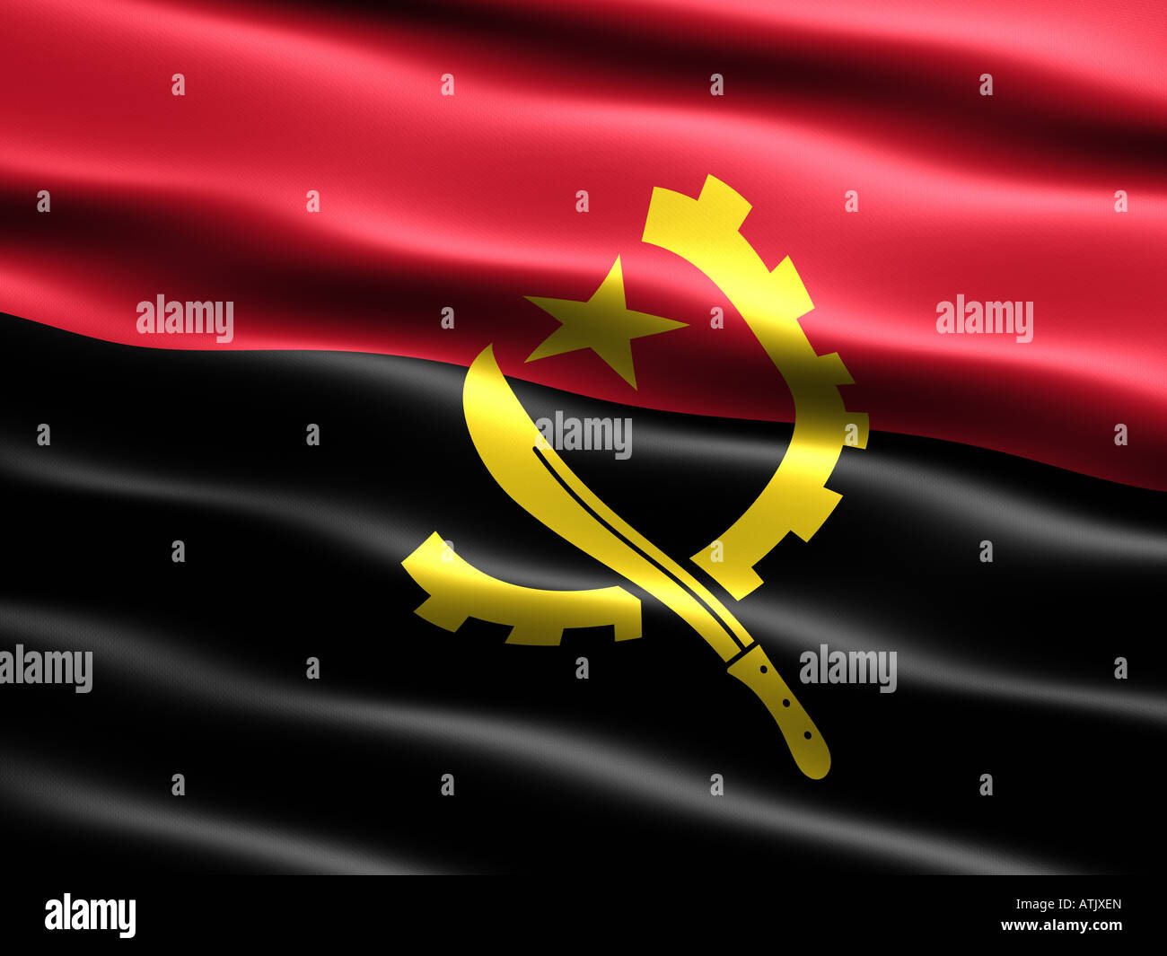 Flag of Angola computer generated illustration with silky appearance and waves - Stock Image
