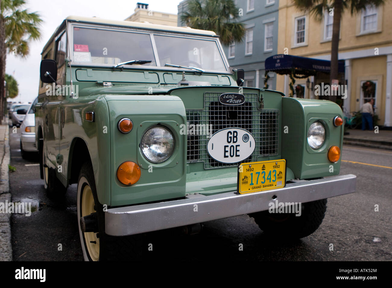 A Land Rover Series IIA parked along Vendue Range Charleston SC December 30 2007 - Stock Image