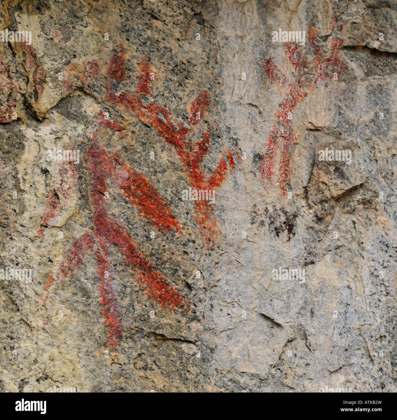 Pictograph (ancient aboriginal rock art), near Penticton, British Columbia, Canada - Stock Image