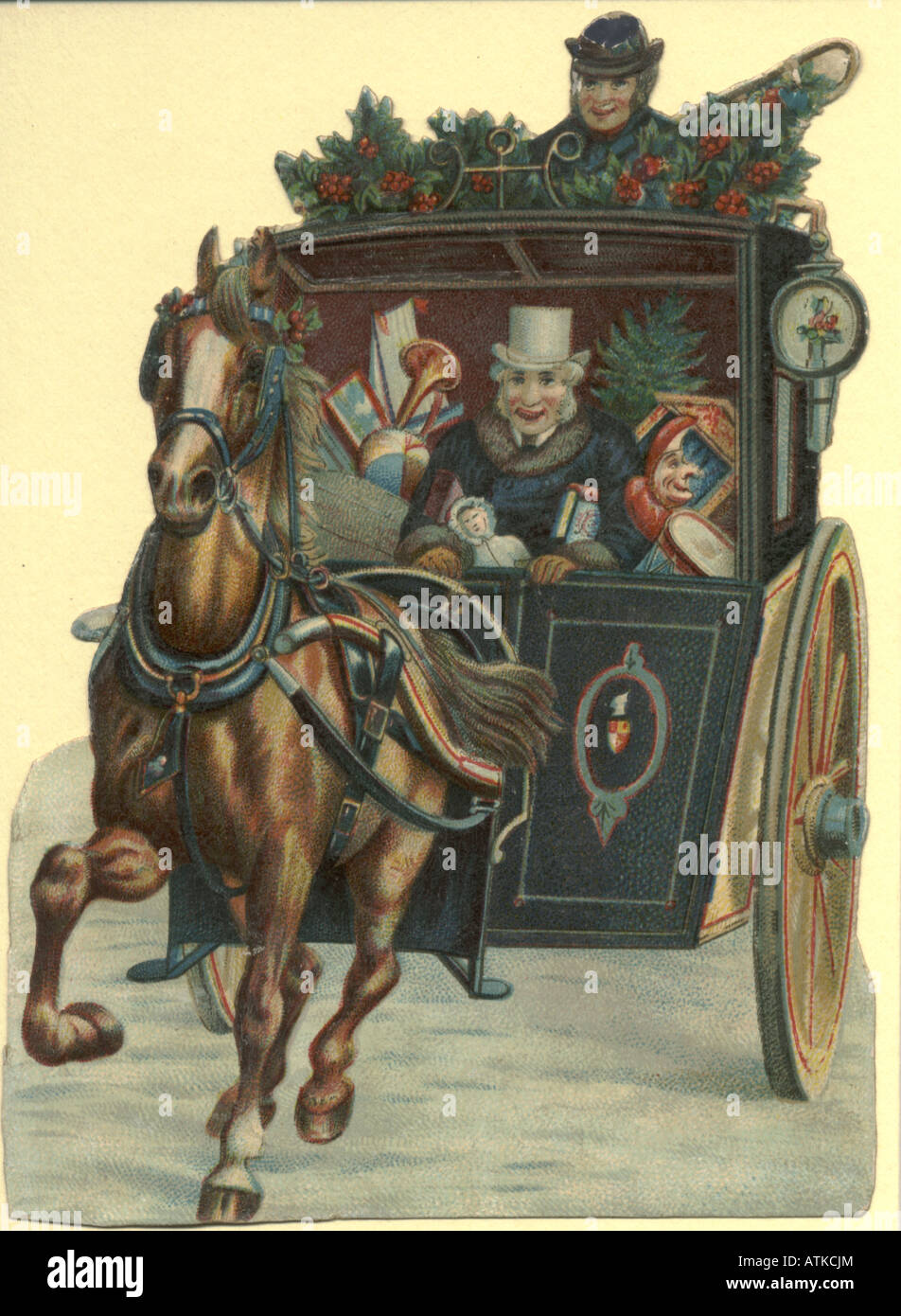 Chromolithographed diecut scrap showing Christmas present delivery in hansom cab circa 1880 - Stock Image