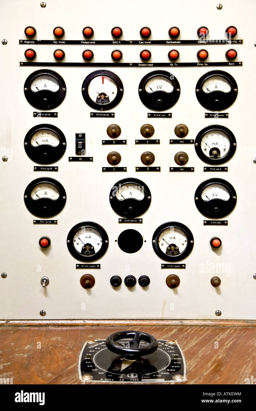 Instrument panel for Niels Bohrs cyclotron - Stock Image