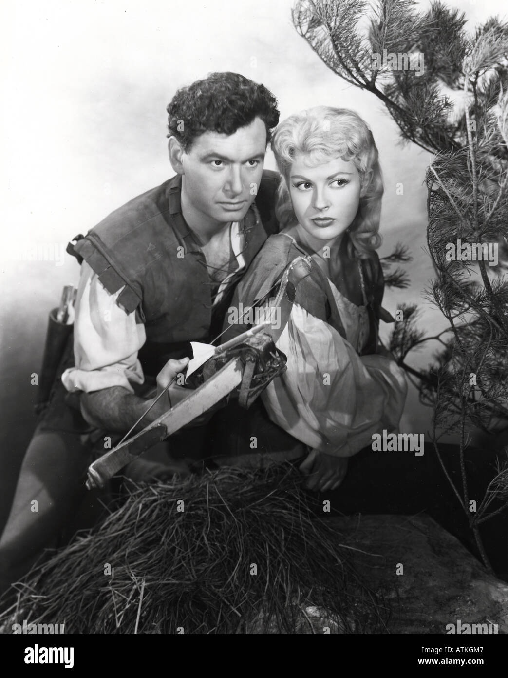 ADVENTURES OF WILLIAM TELL Conrad Phillips as Tell and Jennifer Jayne as his wife Hedda in the UK TV series - Stock Image