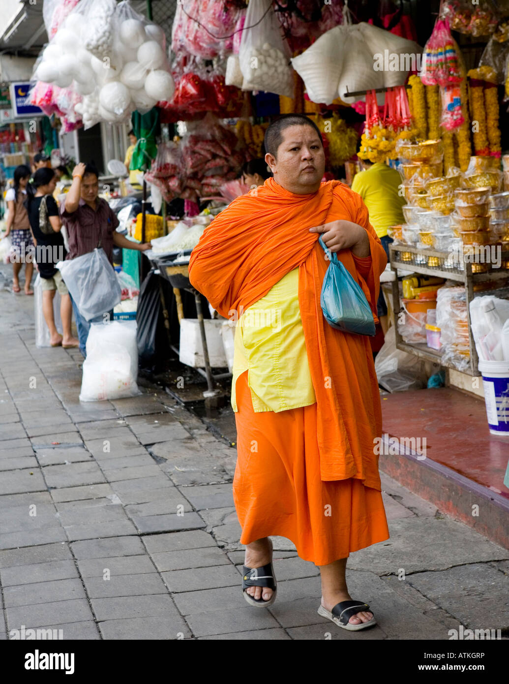 Fat Buddhist Monk In Bangkok Thailand South East Asia - Stock Image