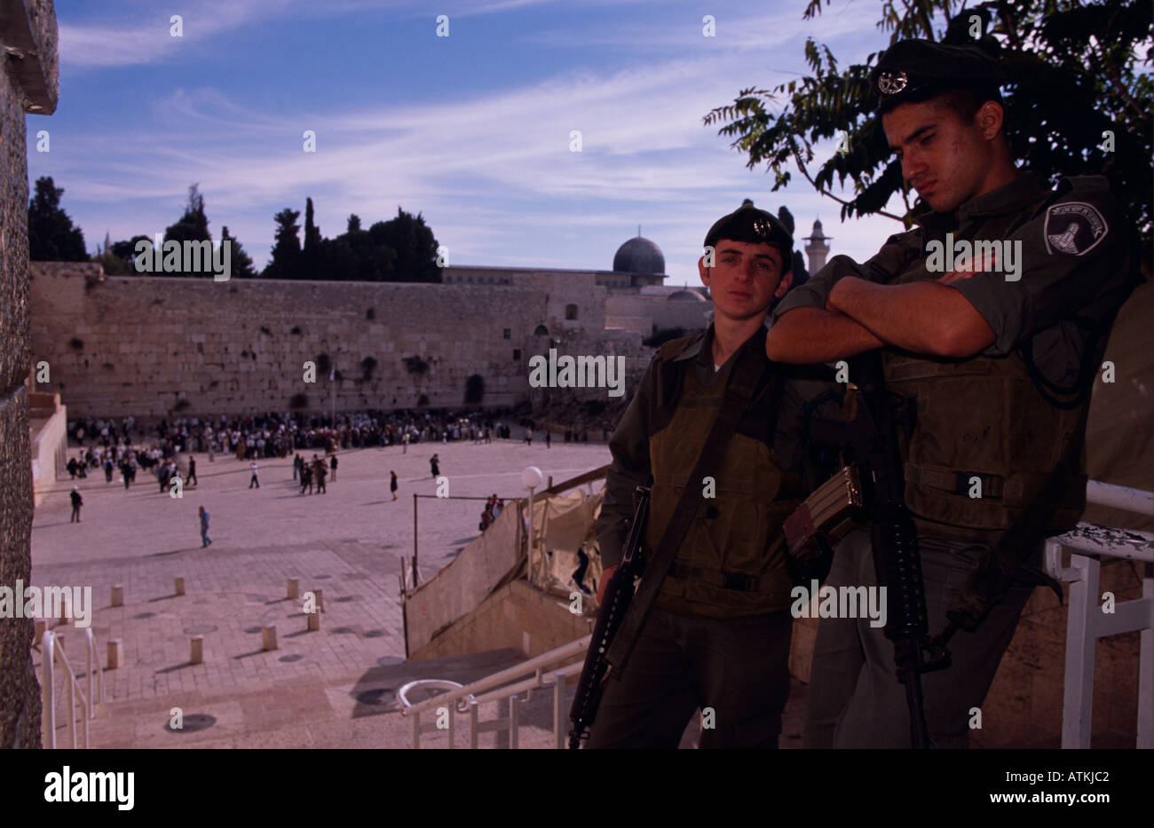 Men on patrol at the wailing wall Western Wall The Kotel al Buraq Wall Jerusalem Stock Photo