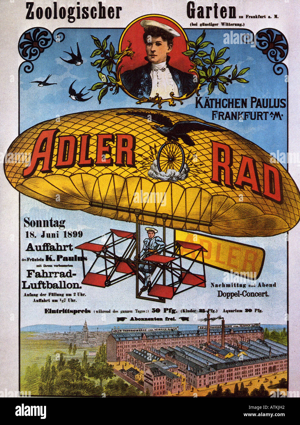 GERMAN poster 1899 advertising ballon flights - see Description below for details - Stock Image