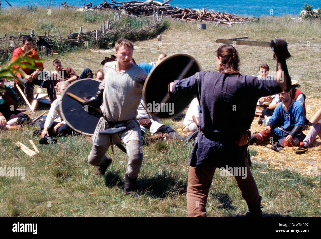 Vikings in a fierce duel - Stock Image