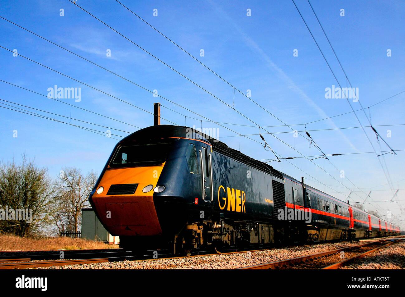 GNER 43 class diesel HST train ECML Lolham Peterborough Cambridgeshire East Coast Main Line England UK - Stock Image