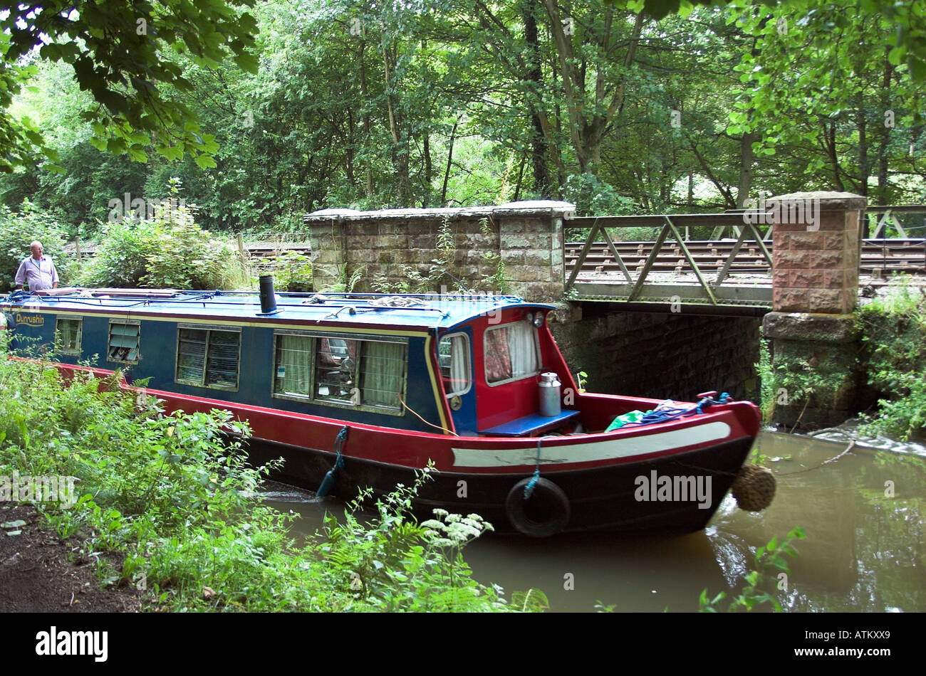 Narrow boat on the Caldon canal at Consall, near Leek, Staffordshire. England - Stock Image