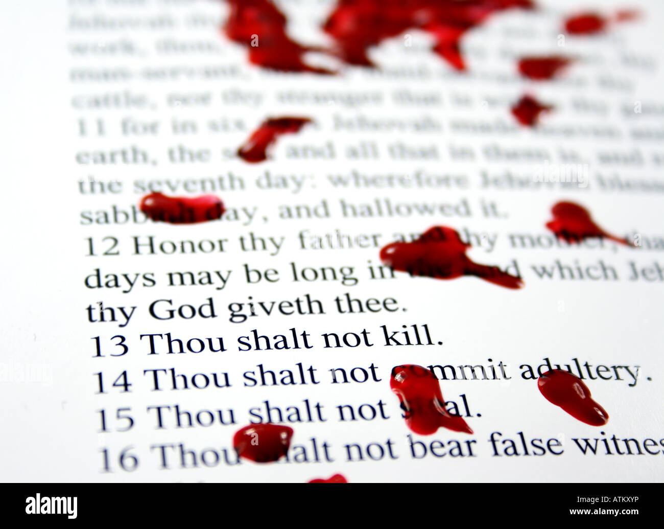 Thou shalt not kill part of the Decadent Decalogue series - Stock Image