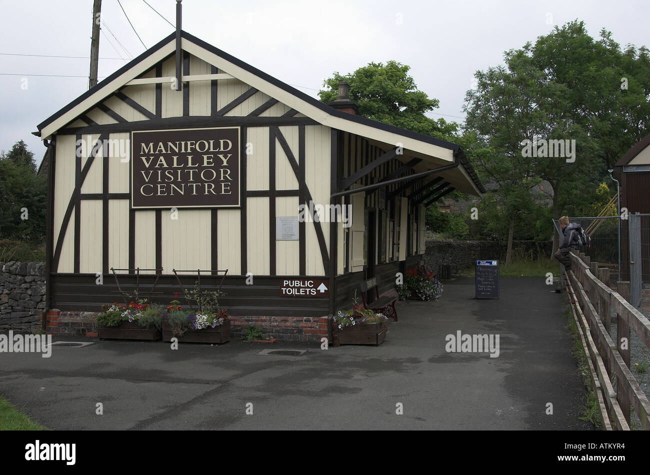 Former Leek and Manifold Railway station building at Hulme End, Staffordshire, England. Stock Photo