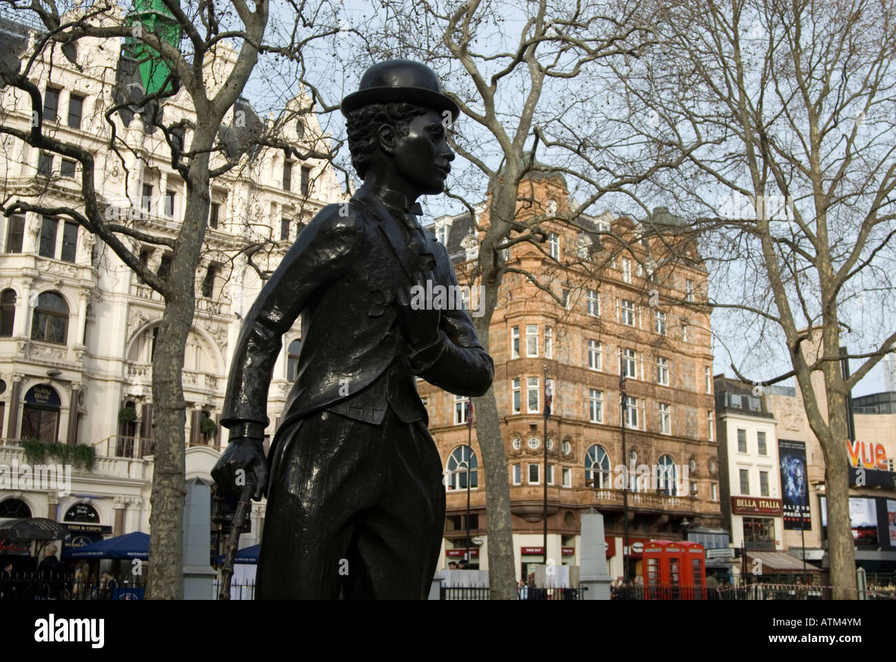 Charlie Chaplin statue in Leicester Square London England UK - Stock Image