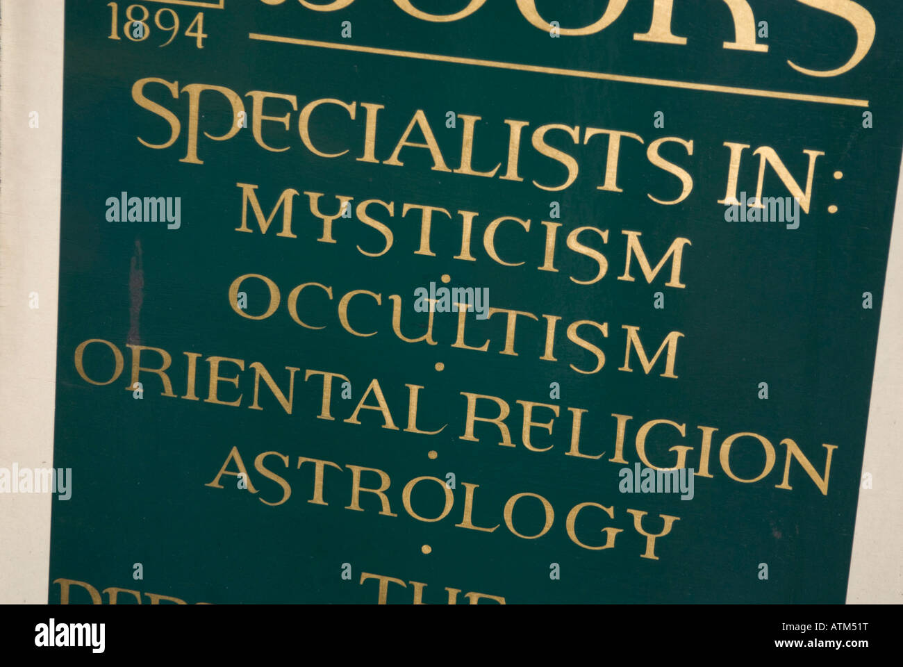 Sign for specialists in mysticism occultism religion and astrology - Stock Image