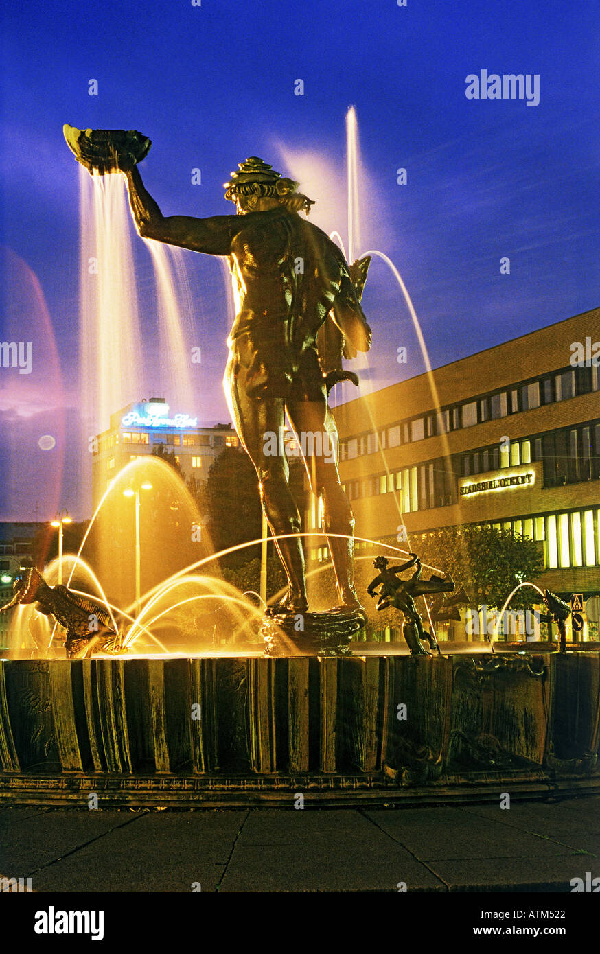 Statue of Poseidon by Carl Milles on Avenyen in Gothenburg Sweden - Stock Image