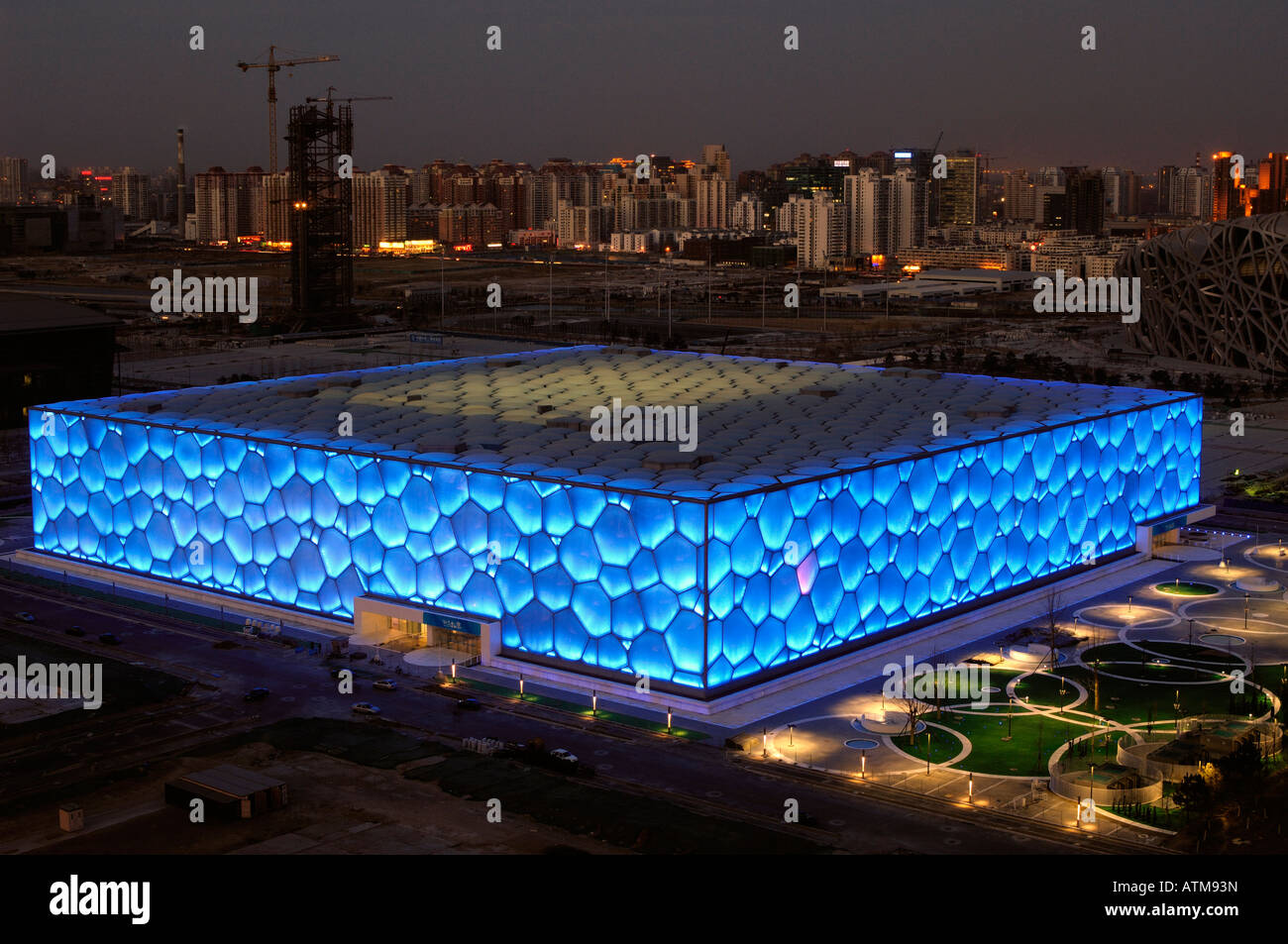The Beijing National Aquatics Center  for the Beijing 2008 Olympic Games.  29-Feb-2008 Stock Photo