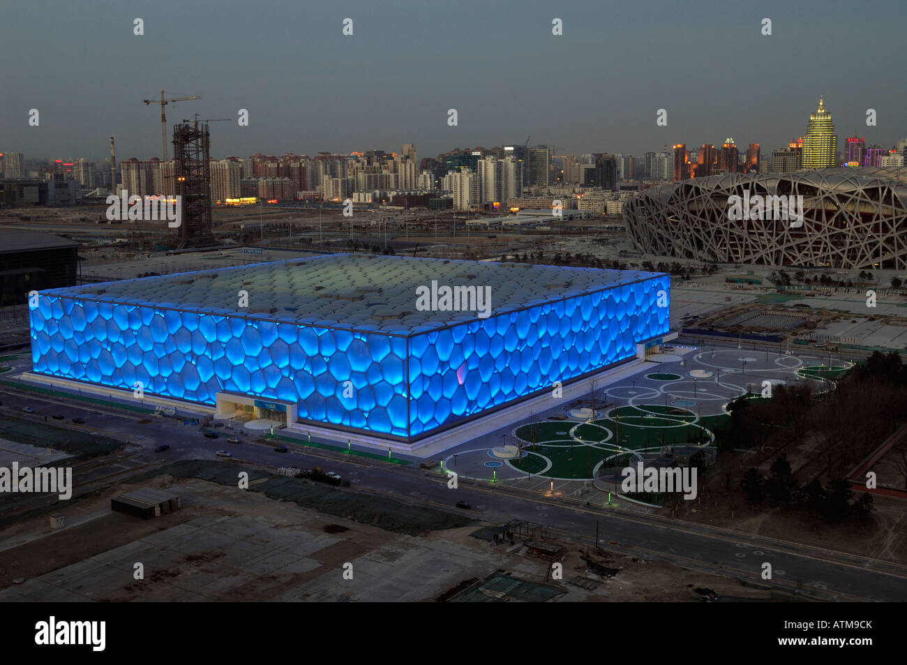 National Swimming Centre and National Stadium for the Beijing 2008 Olympic Games.  29-Feb-2008 - Stock Image