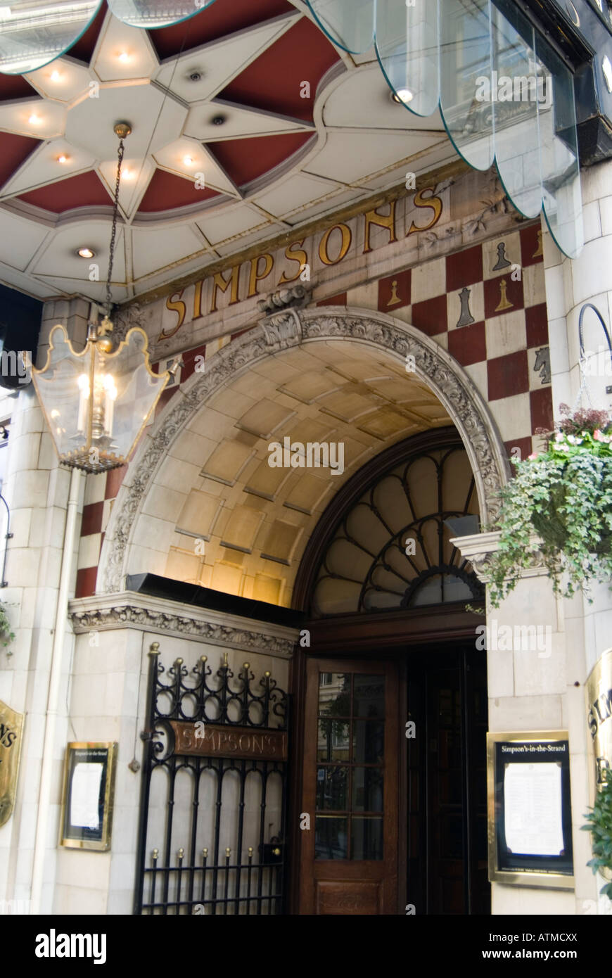 Entrance to Simpson's in the Strand, London, England, UK - Stock Image