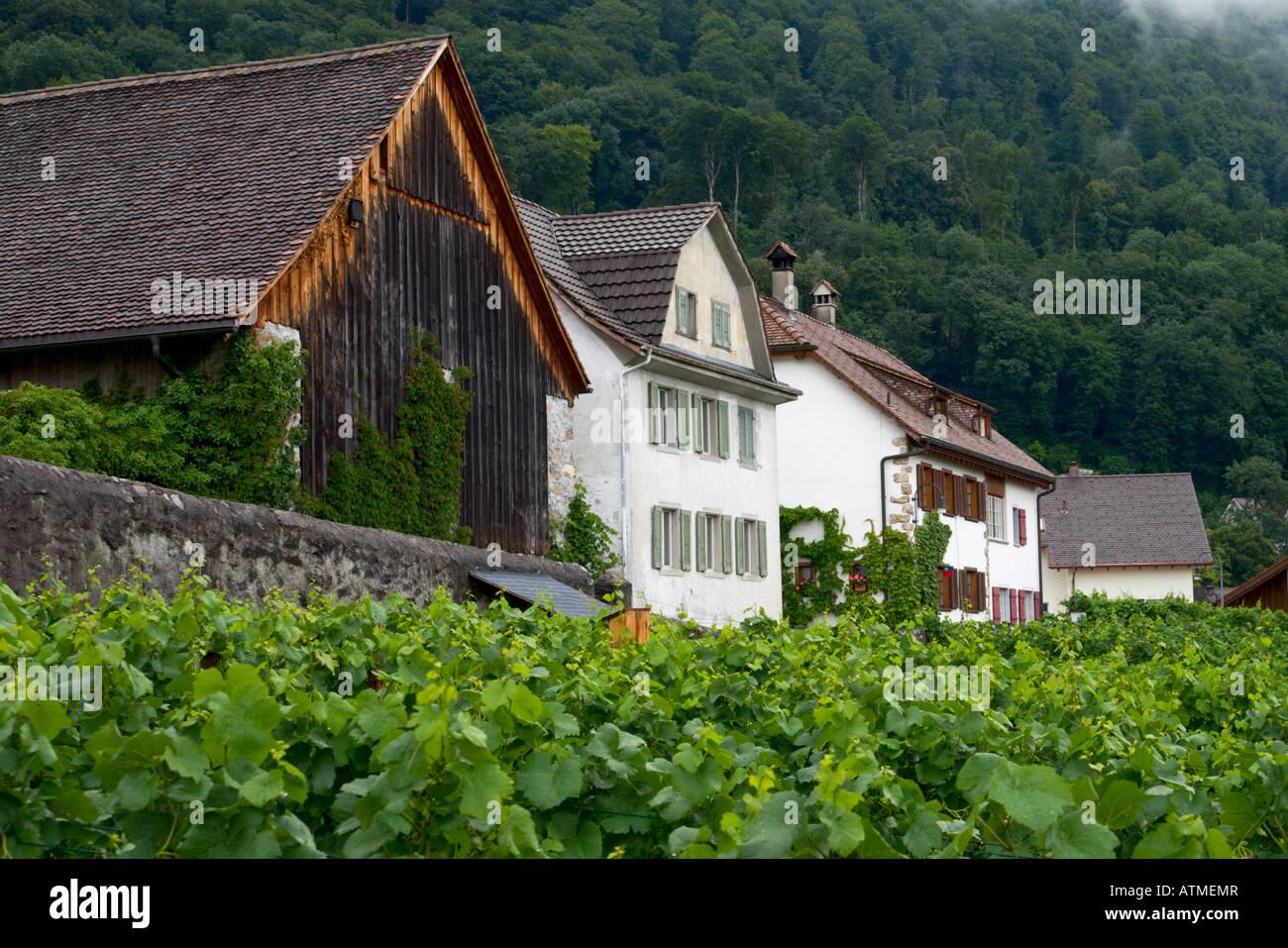 Old houses in Vaduz Liechtenstein Stock Photo