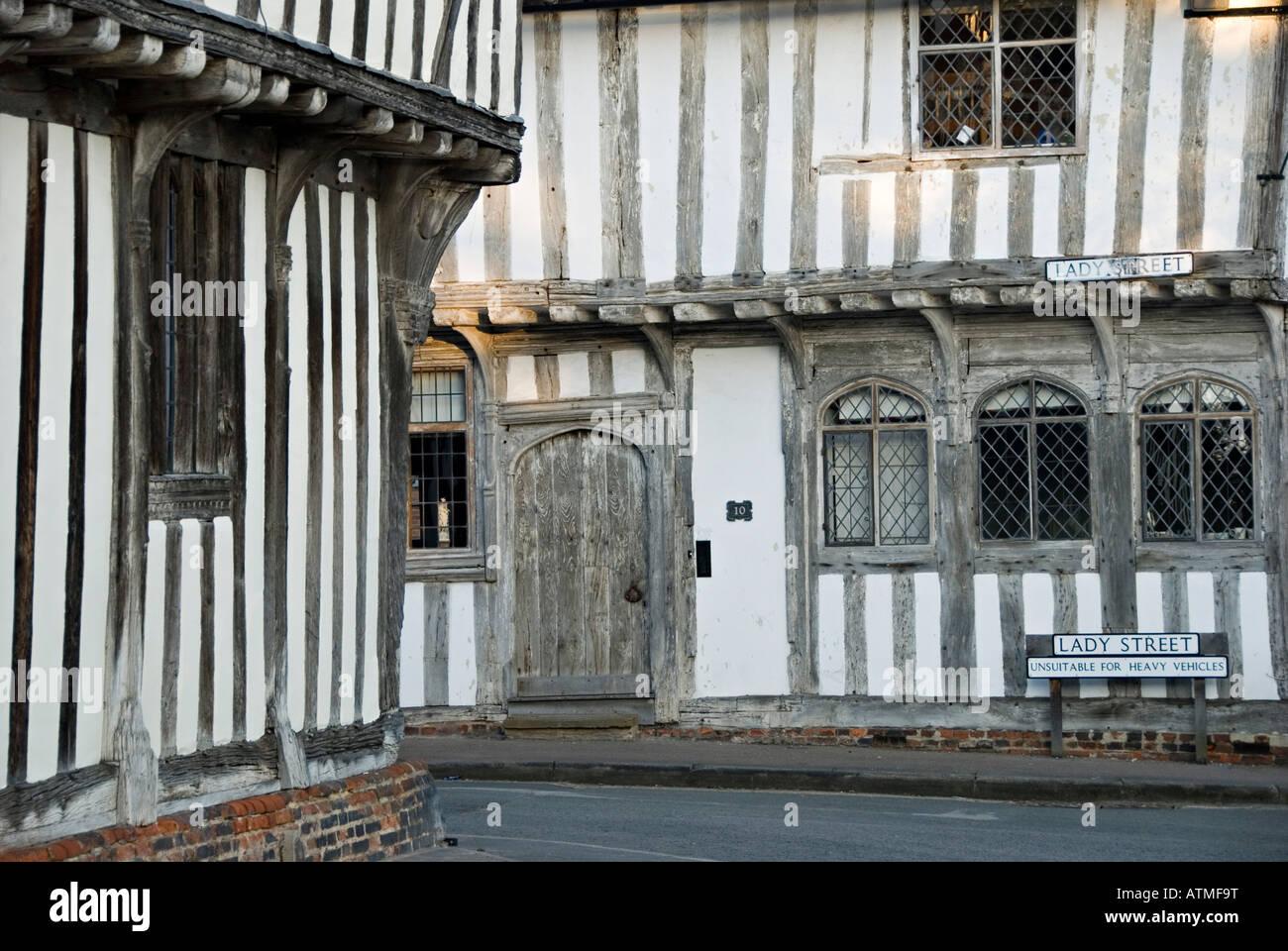 Lavenham, Suffolk, UK. Old Tudor shops in Lady Street - Stock Image