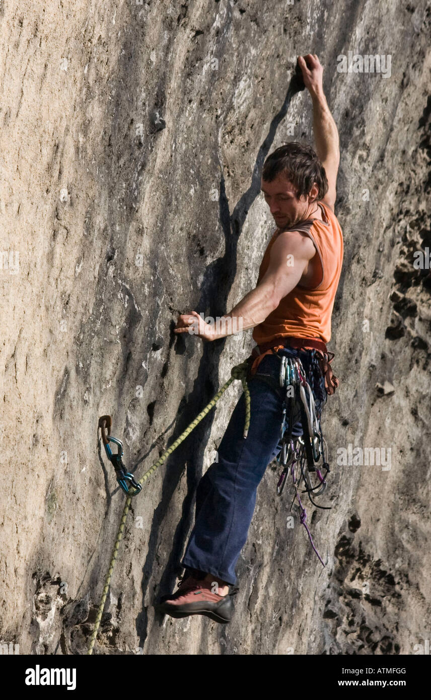 Rock Climber leading a route on Goldstein Elbsandsteingebirge Germany - Stock Image