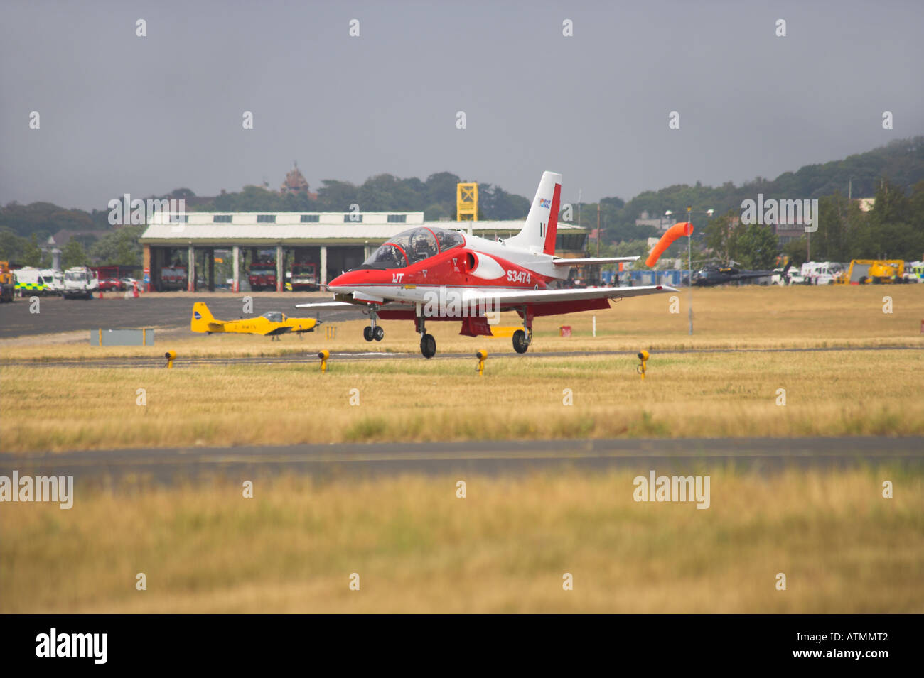 Hindustan Aeronautics Ltd IJT 36 Trainer just touching down - Stock Image
