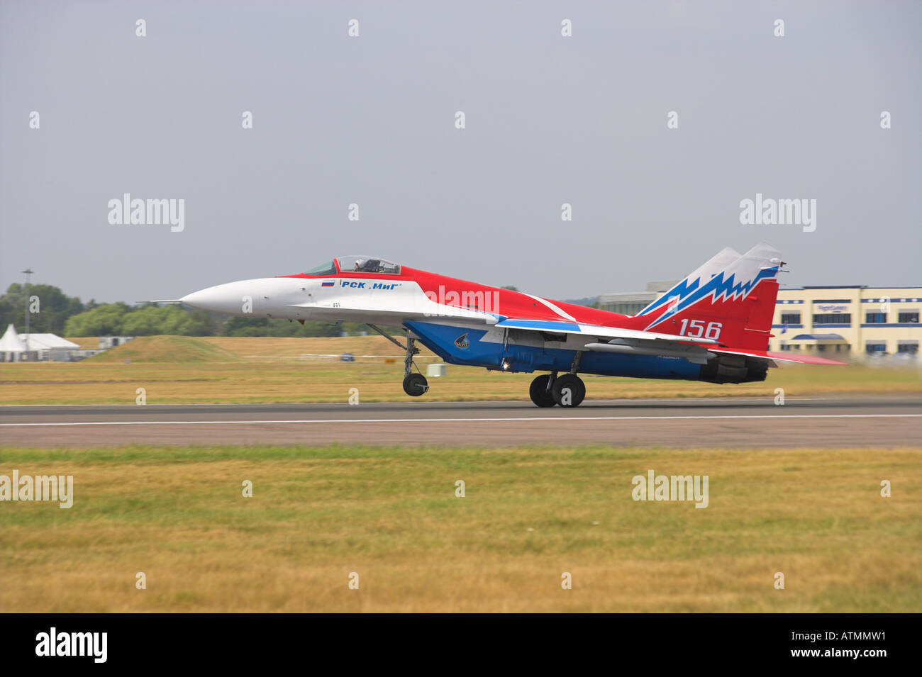 MIG 29 OVT nearly airborne Stock Photo