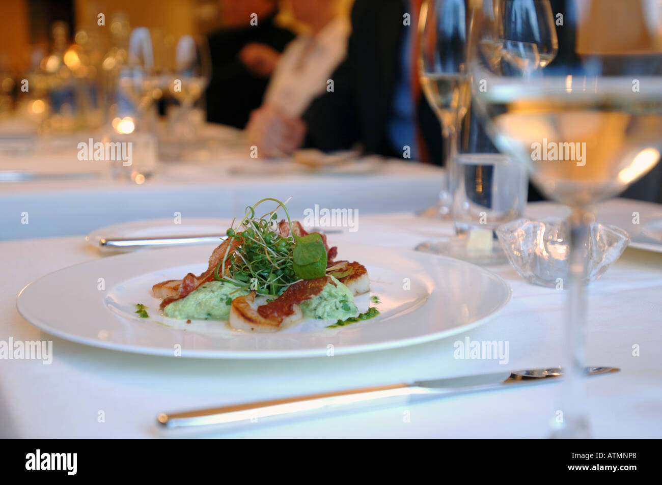 plate with food on a nicely set table in restaurant & plate with food on a nicely set table in restaurant Stock Photo ...