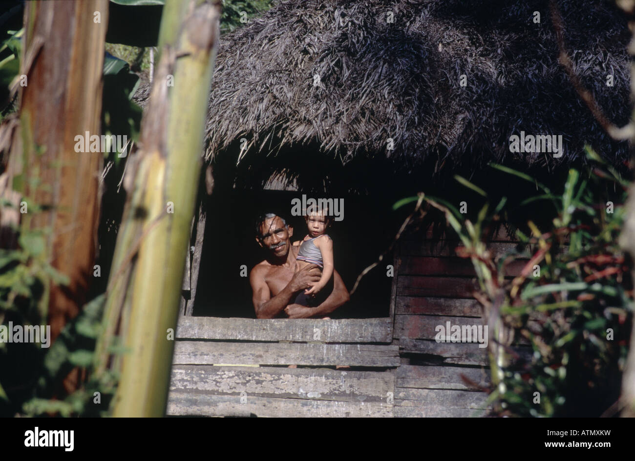 Wooden village house Palm thatched roof Man standing at window with small child in arms Vegetation Trees Bamboo - Stock Image