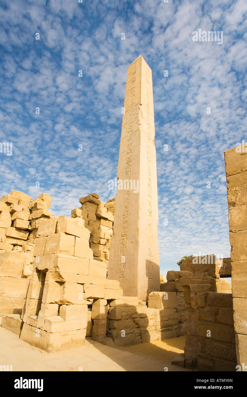 Temple of Amun Re Amun-Re with sun on obelisk erected by Queen Hatshepsut Thebes Luxor Egypt North Africa - Stock Image