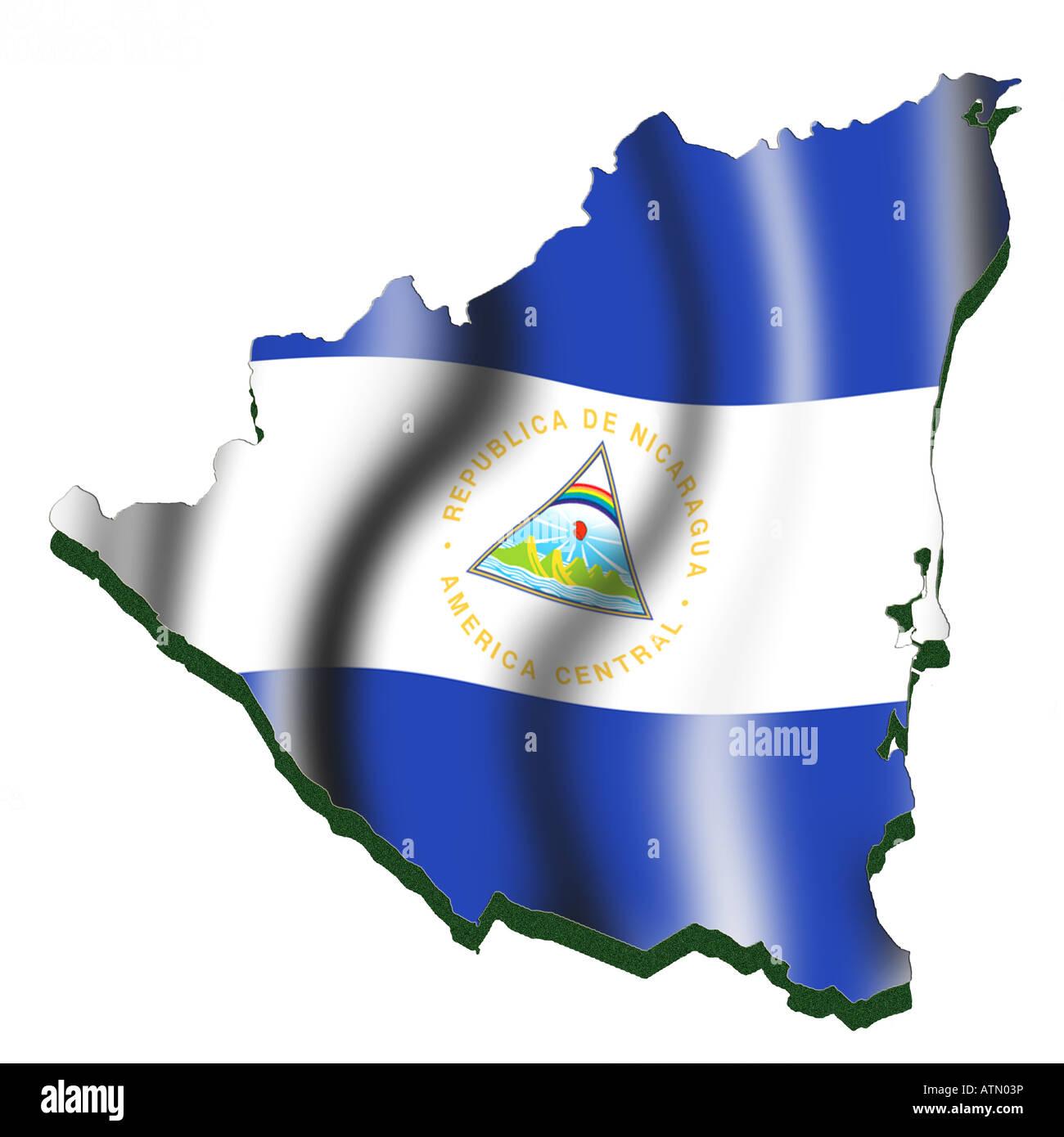 Outline Map And Flag Of Nicaragua Stock Photo Alamy