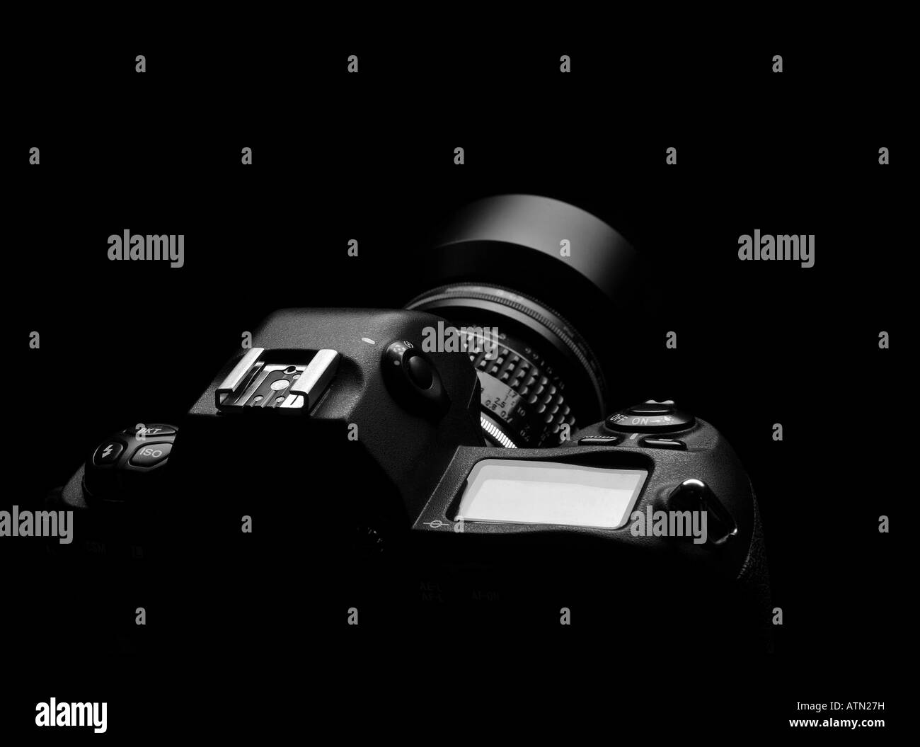 Professional camera outline isolated background black and white - Stock Image