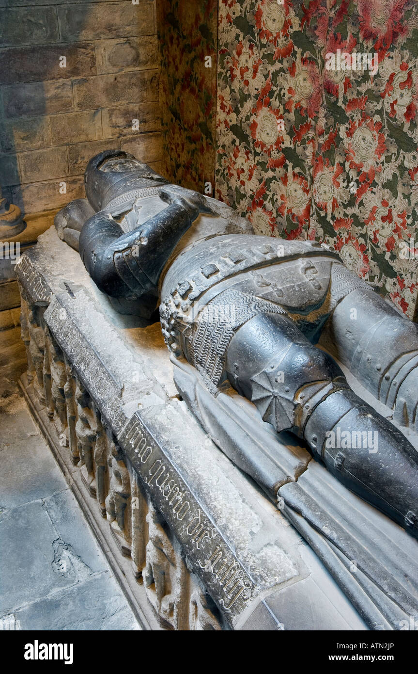 Stone tomb effigy of Alexander Stewart, Earl of Buchan, in Dunkeld Cathedral, Scotland. Died 1405. Known as The - Stock Image