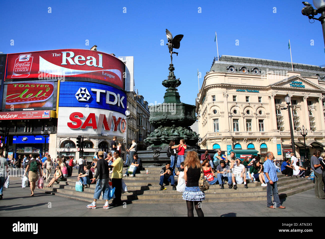 Piccadilly Circus in the centre of London - Stock Image