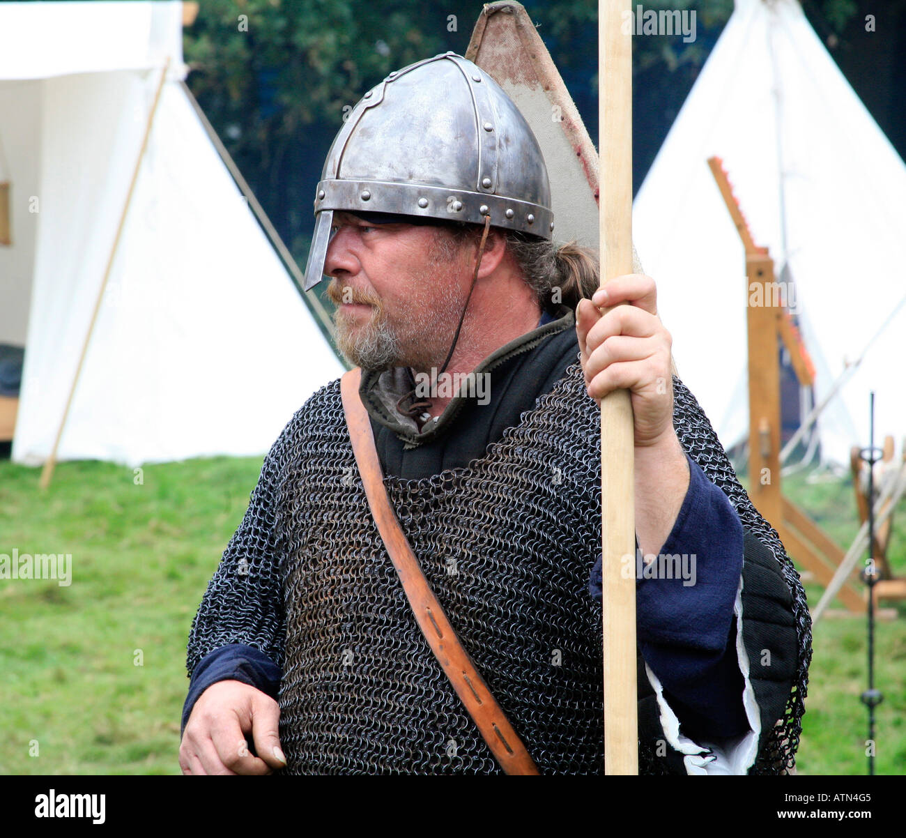 Soldier from Saxon Army 1066 Battle of Hastings England - Stock Image