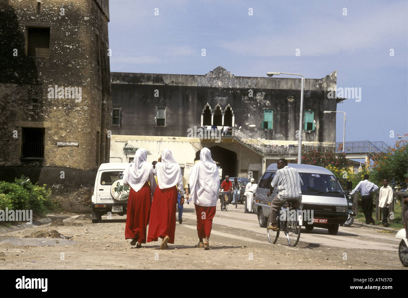 A group of young lady students in Zanzibar Tanzania East Africa - Stock Image