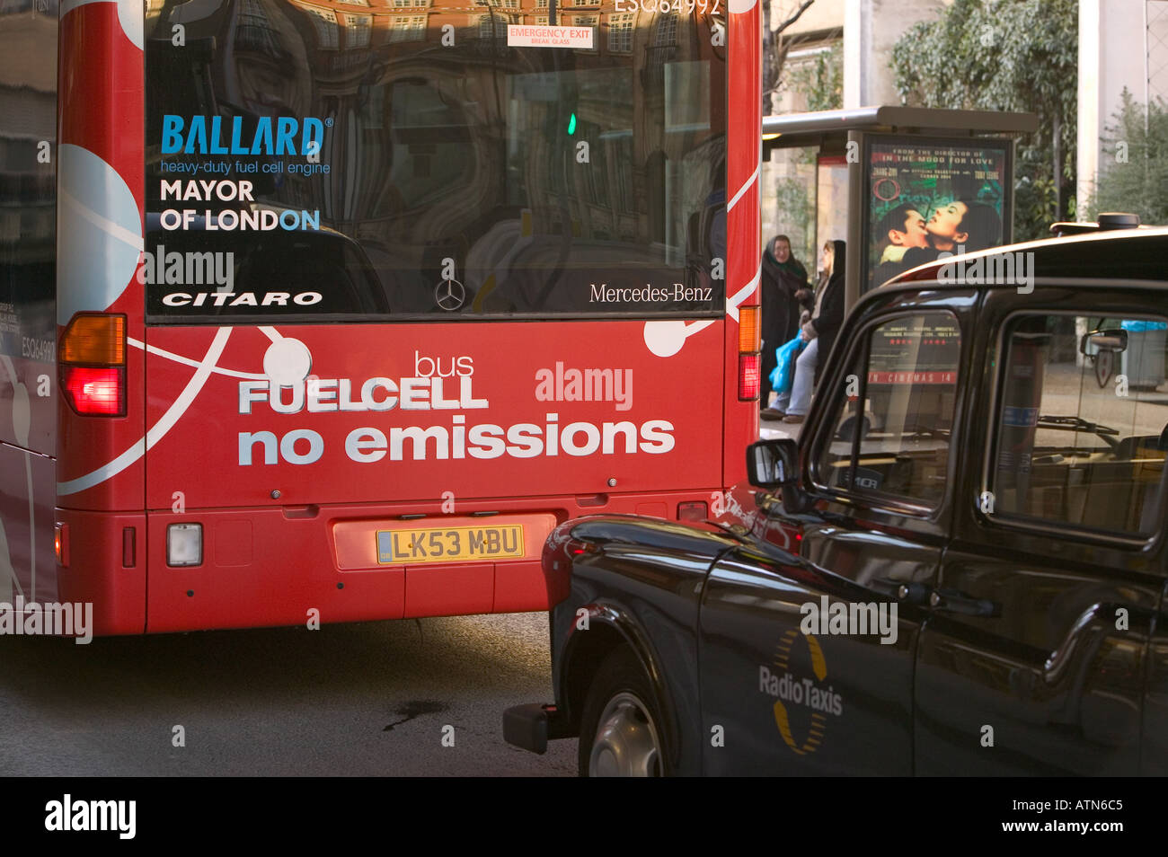 a zero emmission bus in London clean energy fuel cell bus Stock Photo