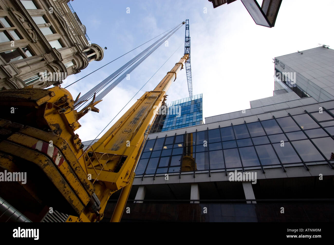 telescopic crane city of london Stock Photo