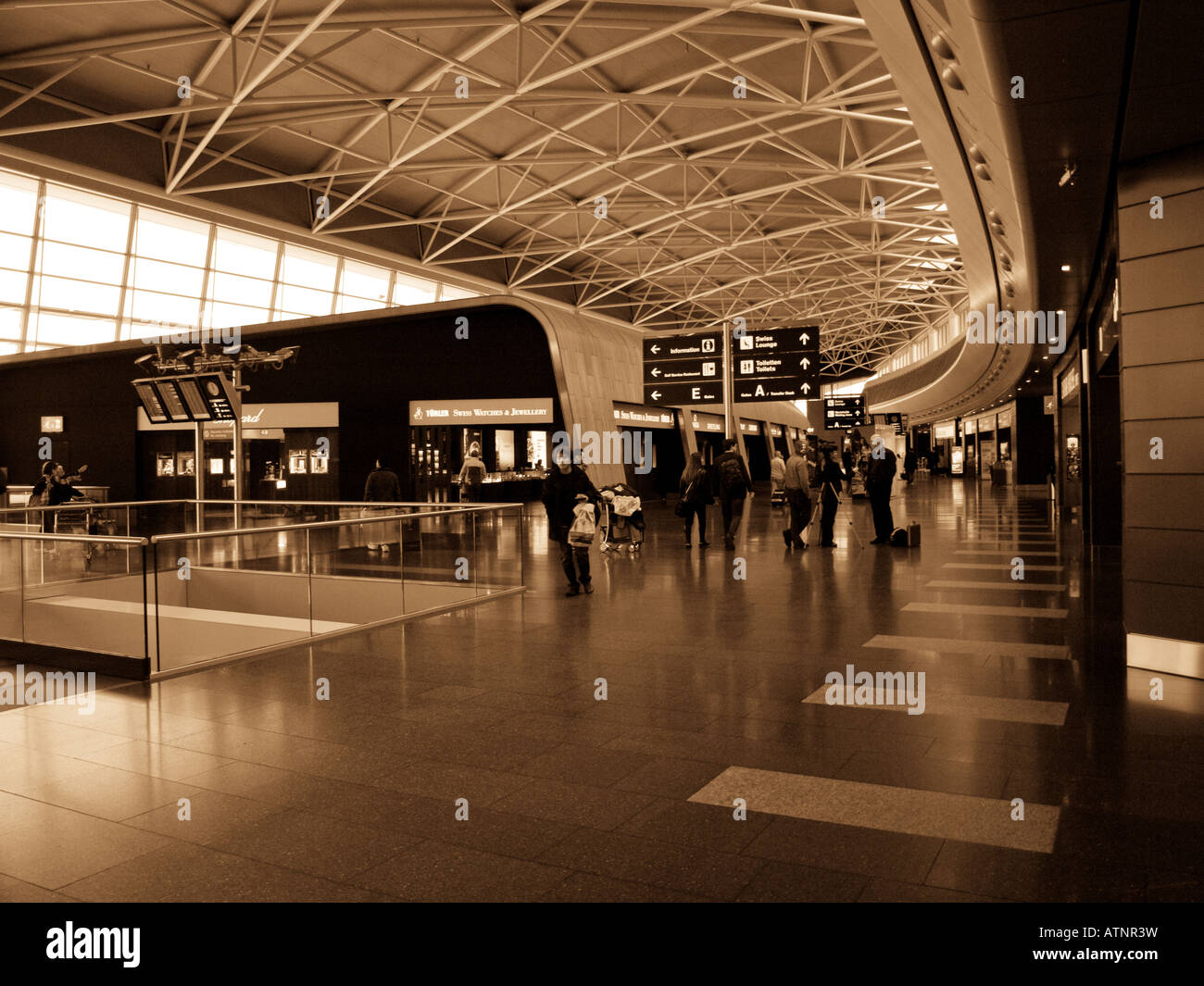 A sepia-toned shot of Zurich Airport. - Stock Image