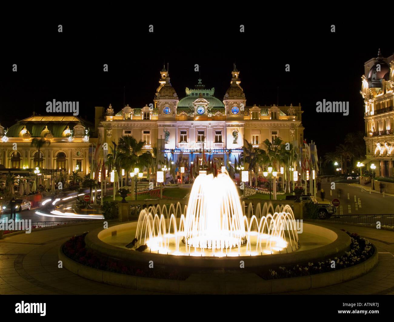 The high-rolling, famous Monte Carlo Casino at night.  Monaco. Stock Photo