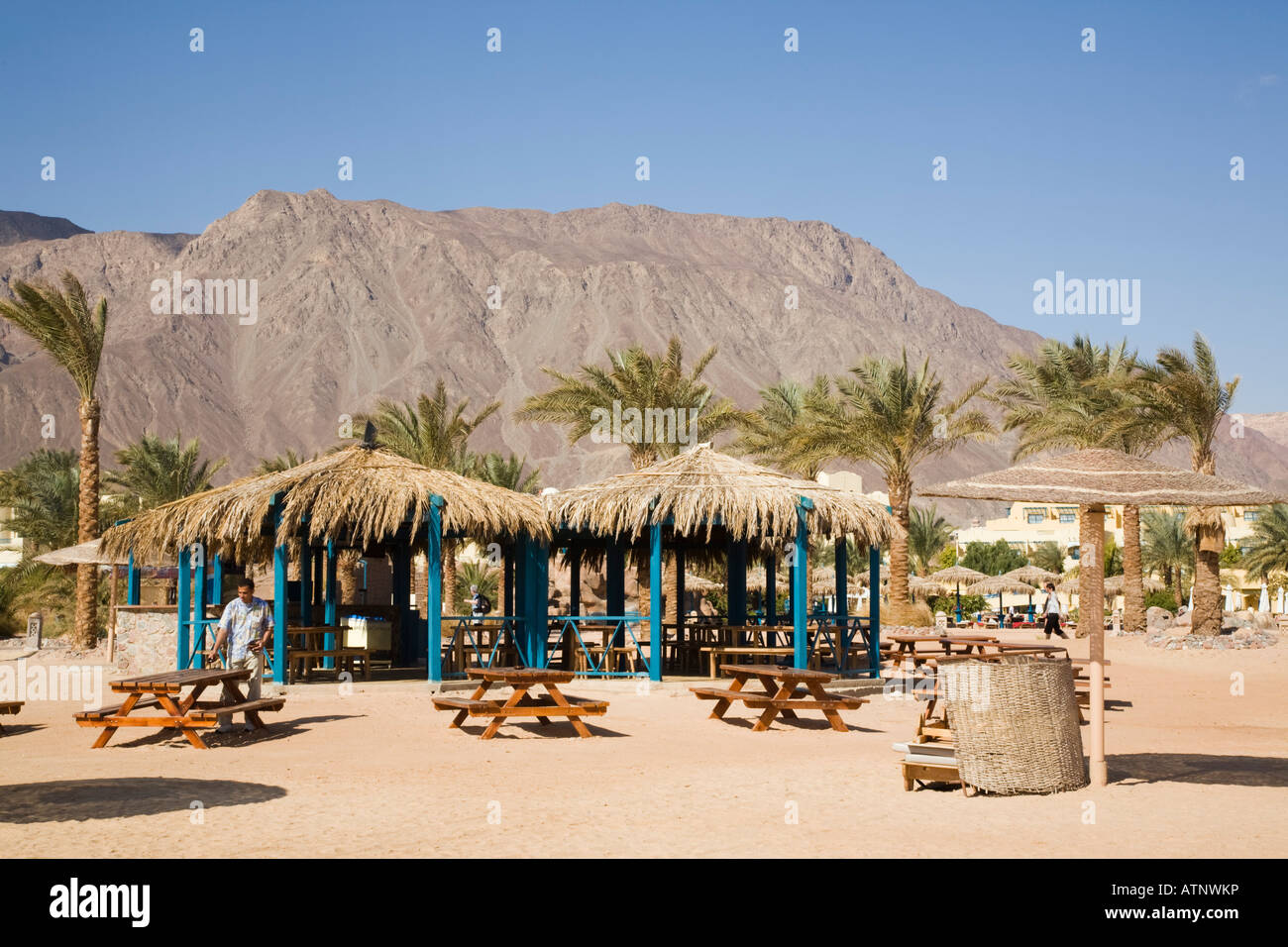 Taba Heights Sinai Peninsula Egypt Empty beach bar cafe with outdoor tables in resort on Red Sea east coast riviera Stock Photo