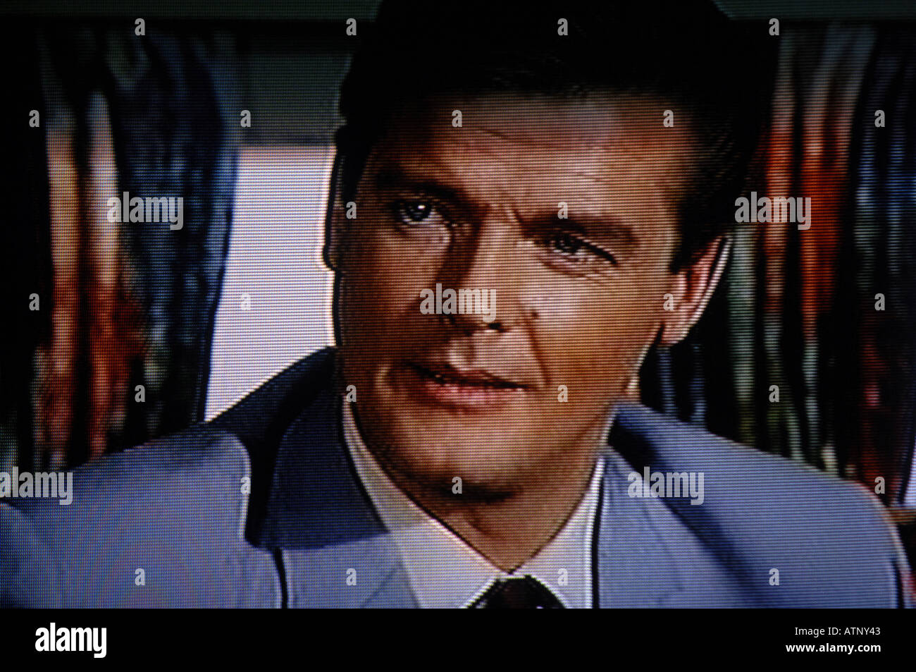 Roger Moore, The Saint, 1960s, sixties, seventies, television, programme, series, espionage, spy, agent, detective, retro, colou - Stock Image