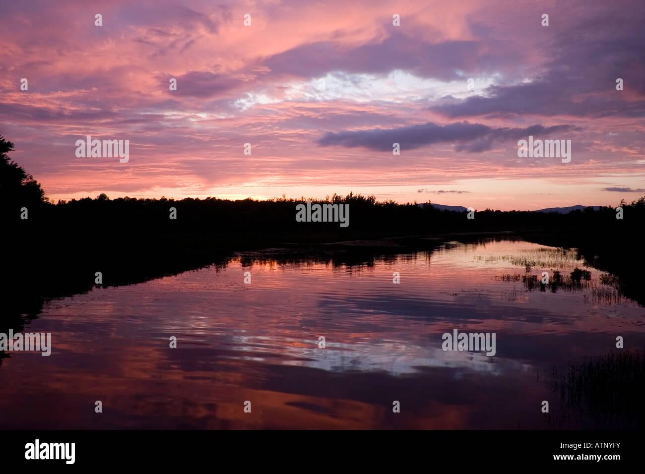 Sunset over the Sacandaga River, Adirondack Mountains, New York - Stock Image