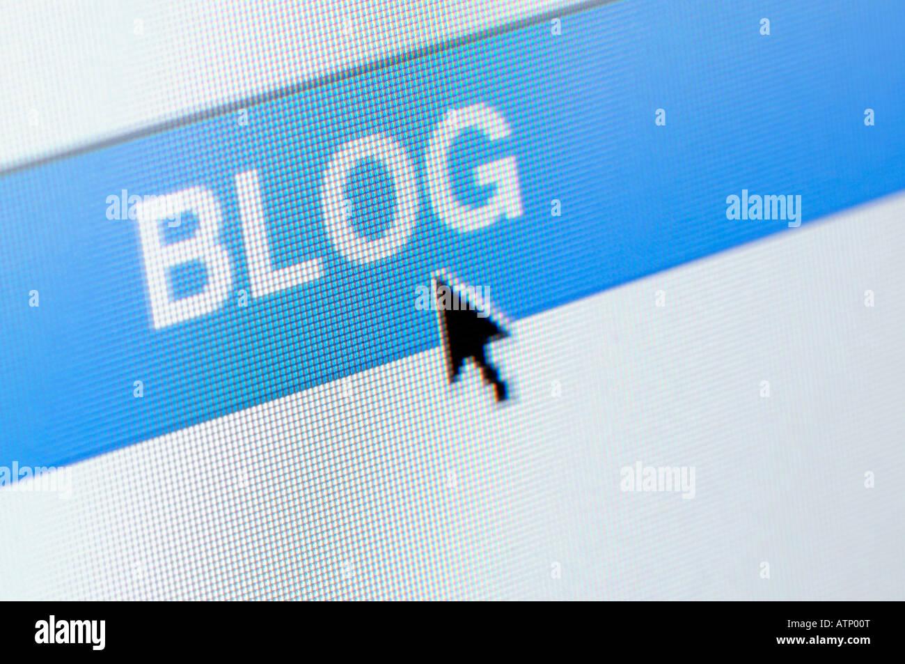 Computer screen blog close up - Stock Image