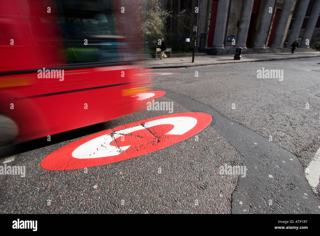 congestion charge zone with giant C in road to signify entry into zone Kings Cross area of London - Stock Image