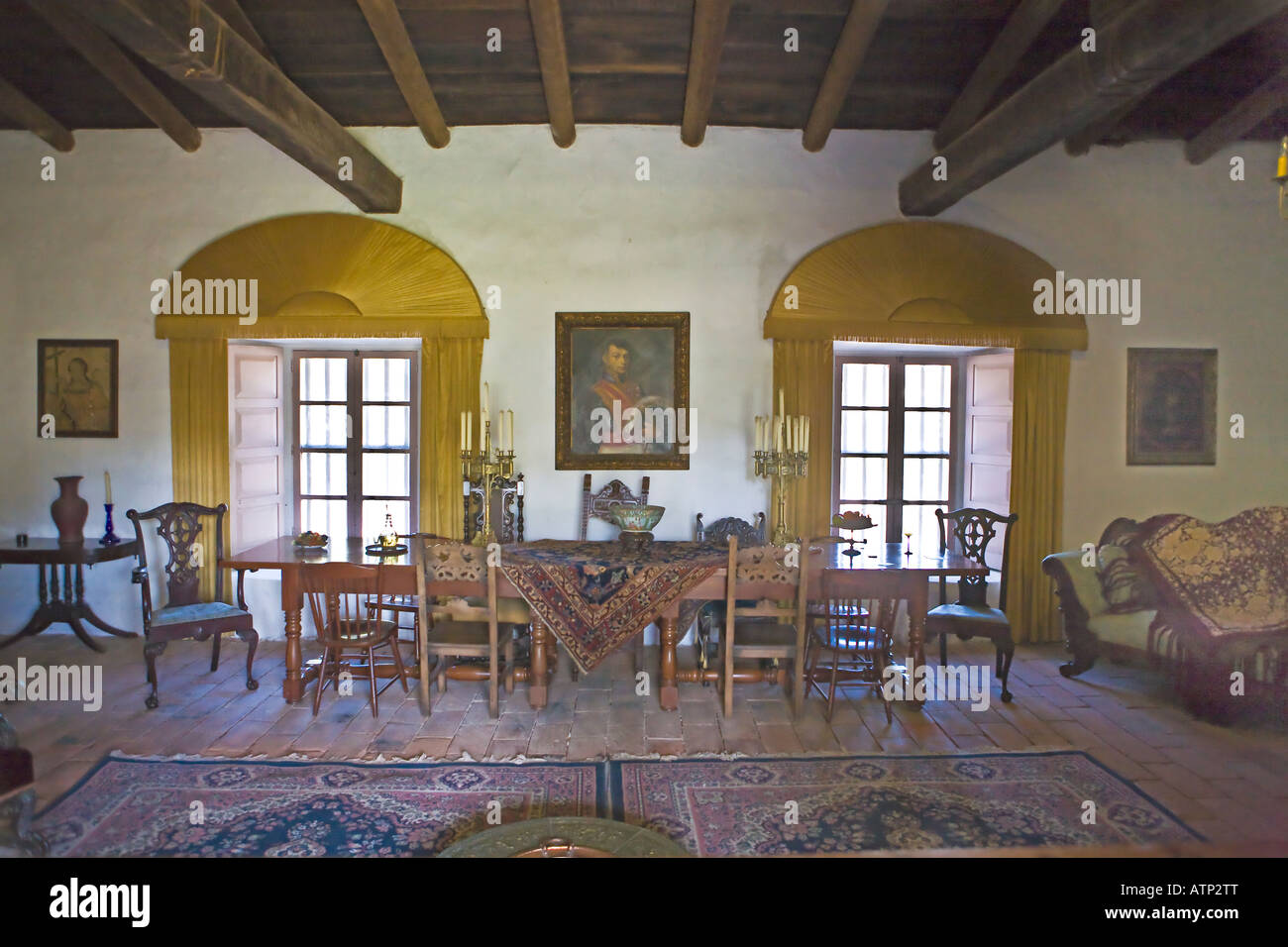 Living room in the adobe mansion La Casa de Estudillo in Old Town ...