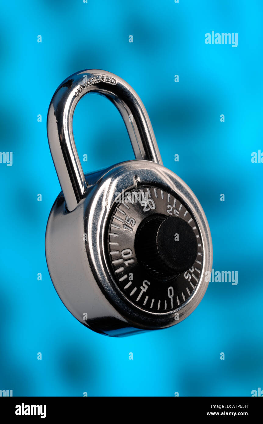 Chrome combination padlock - Stock Image