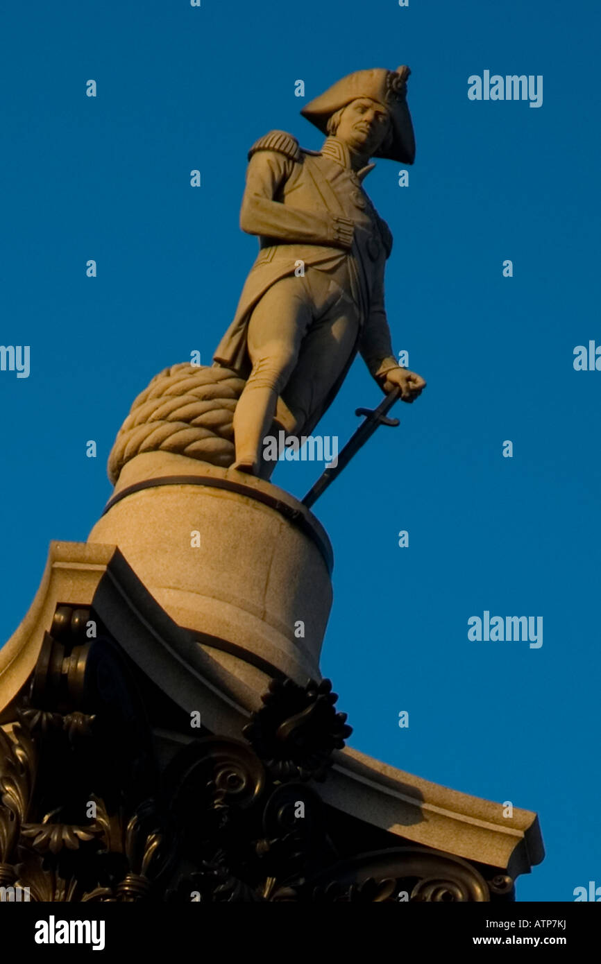 Lord Nelson atop of the column in Trafalgar Square, central London, UK - Stock Image