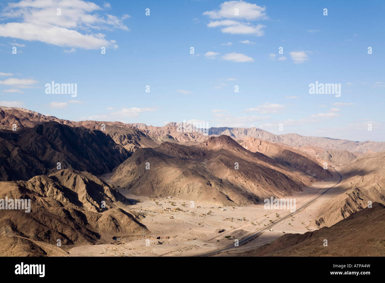 Main road to Taba through barren Sinai desert mountains. Taba Sinai Peninsula Egypt - Stock Image
