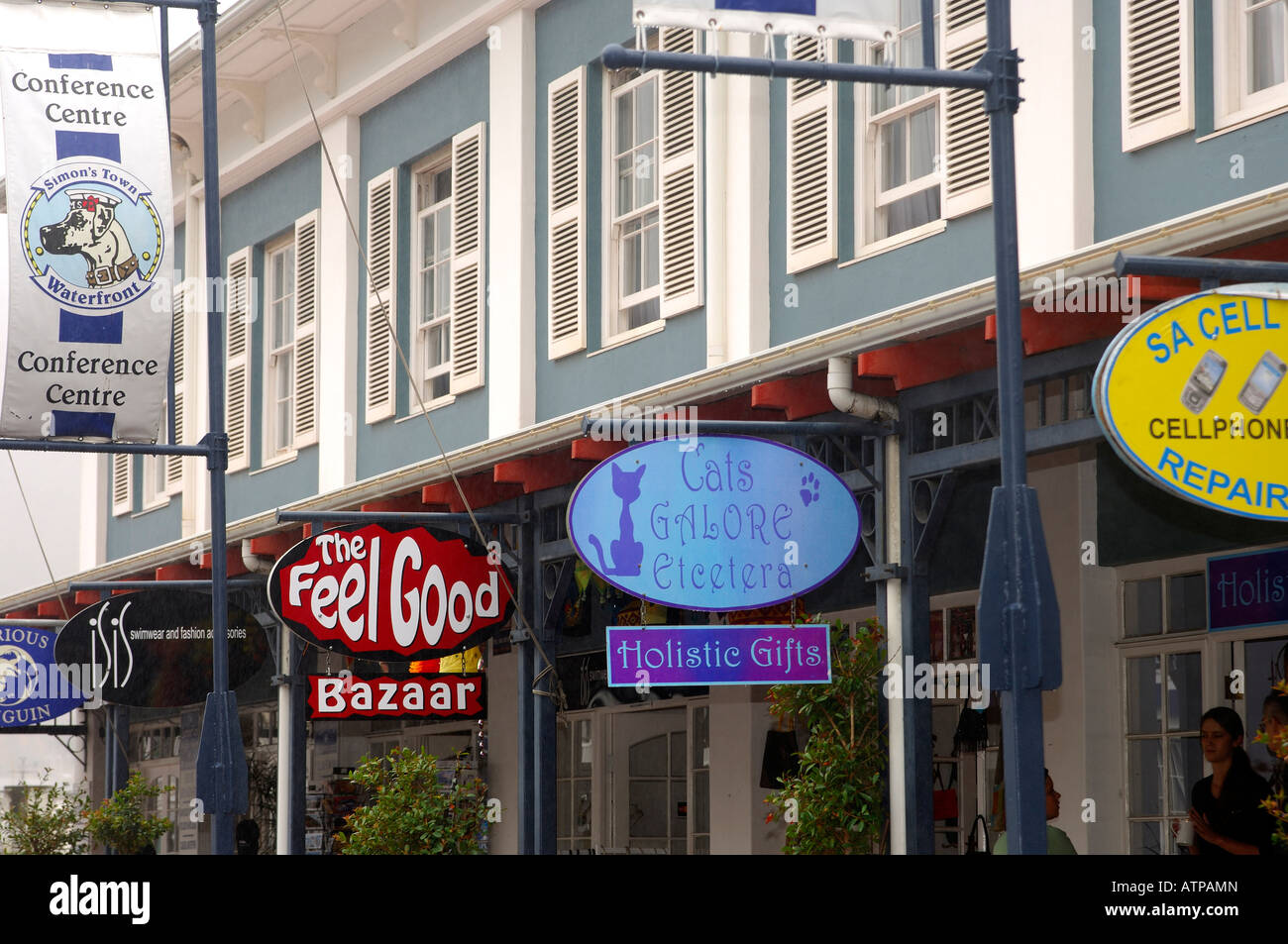 Shop signs in the main street of Simon s Town Western Cape Province South Africa - Stock Image
